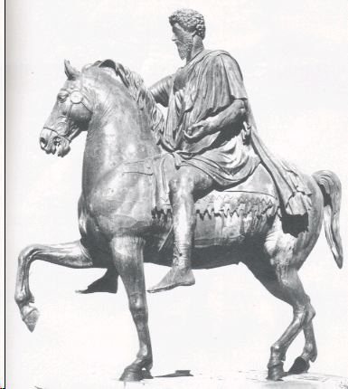 Bronze statue of Marcus Aurelius riding a horse